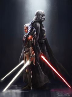 Ahsoka Tano and Darth Vader