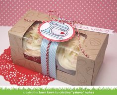 Lawn Fawn - Baked with Love + coordinating dies, Stitched Circle Stackables, Scalloped Circle Stackables, PInt-Sized Patterns Beachside paper, Sweetheart Lawn Trimmings _ decorated cupcake box by Yainea for Lawn Fawn Design Team