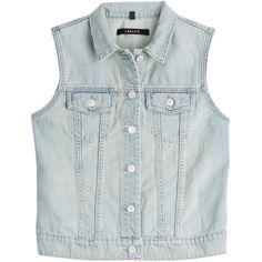 J Brand Denim Vest ($140) ❤ liked on Polyvore featuring outerwear, vests, jackets, tops, denim, blue, denim vest, button vest, slim fit vest and blue denim vest