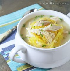 Low Carb Avgolemeno (Greek Chicken, Lemon & Egg Soup) with spaghetti squash instead of orzo. Comforting and easy to make - perfect for a cold, dreary day! net carbs per cups Low Carb Soup Recipes, Cooking Recipes, Healthy Recipes, Healthy Soups, Primal Recipes, Lemon Soup, Greek Lemon Chicken, Cupcakes, Low Carb Keto