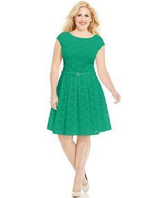 Alfani Plus Size Lace A-Line Dress - Dresses - Plus Sizes - Macy's Dressy Dresses, Lovely Dresses, Elegant Dresses, Lace A Line Dress, Dress Up, Flare Dress, Plus Size Dresses, Plus Size Outfits, Curvy Fashion