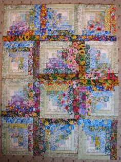 Log Cabin Quilts | Quilts - great to do with floral scraps Log Cabin