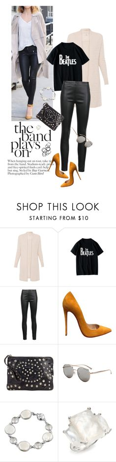 """the band plays on"" by reginakos ❤ liked on Polyvore featuring WithChic, Veronica Beard, Christian Louboutin, Patricia Nash, Michael Kors, Honora, Ippolita, Monki, StreetStyle and leatherpants"