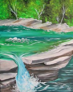Cool pooled water in creek with waterfall, such pretty blues and green. Lovely painting idea. I am so in love with the color!