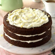 Gingerbread Torte Recipe -This old-fashioned gingerbread cake is excellent. Lemon zest is a nice addition to the sweet cream cheese frosting. —Ginger Hendricksen of Plover, WI Cocoa Cake, Chocolate Cake, Gingerbread Cake, Gingerbread Recipes, Gingerbread Houses, Christmas Desserts, Christmas Treats, Christmas Cakes, Holiday Cakes