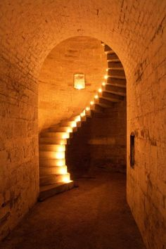 The Granite Staircase at Fort Camden, Cork Harbour. Ireland.