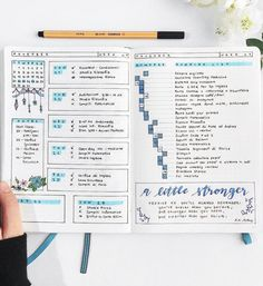 Creative Organization: Blue Bullet Journal Weekly Spread. Bujo weeklies. Planner page ideas. #bujoinspire #bujospreads