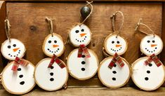 Snowmen - ornaments - two per order -birch snowmen - white birch ornaments - handmade - white birch - Wood slice crafts - Wooden Christmas Decorations, Kids Christmas Ornaments, Christmas Ornaments To Make, Christmas Crafts For Kids, Diy Christmas Gifts, Christmas Projects, Christmas Fun, Holiday Crafts, Homemade Ornaments