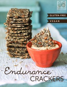 Test Report: Low Carb/Vegan/GF Endurance Crackers - These are awesome in taste and texture! I just took some out of the oven and they are so good, even by themselves. No strange taste, I added Tony Ch Low Carb Crackers, Gluten Free Crackers, Vegan Crackers, Seed Crackers Recipe, Vegan Snacks, Healthy Snacks, Vegan Recipes, Snack Recipes, Cooking Recipes