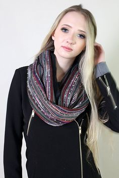 Women's Festival Bliss Shimmer Infinity Scarf, Boho Loop Shawl (Black Diamond) at Amazon Women's Clothing store: