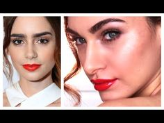 Glam Prom Makeup | Lily Collins Glossy Red Lips, Full Brows & Fresh Complexion | RubyGolani - YouTube