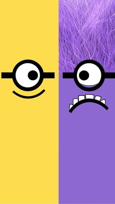 Despicable Me yellow and purple minion iphone 6 plus wallpaper HD for 2014 Halloween #2014 #Halloween