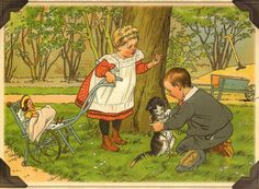 with a doll Vintage Book Art, Vintage Images, Vintage Prints, Clarence Gagnon, Old Paintings, Historical Pictures, Children's Book Illustration, Types Of Art, Vintage Children