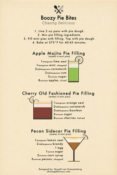 Boozy Pie Bites Poster - Quick and easy recipe for mini Apple Mojito, Cherry Old Fashioned and Pecan Sidecar pies. Mini Pies, My Best Recipe, Yummy Drinks, Bartender, Sweet Recipes, Healthy Recipes, I Am Awesome, Sweet Treats, Good Food