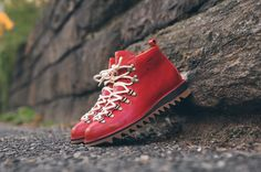 Fracap M120 Ripple Sole Hiking Boot - Red / Amber