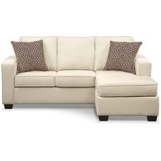 Sterling Beige Queen Memory Foam Sleeper Sofa w/ Chaise ($800) ❤ liked on Polyvore featuring home, furniture, sofas, beige couch, off white sofa, beige sofa, off white couch and memory foam sleeper sofa
