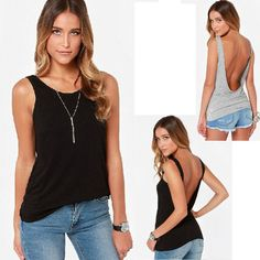 Womens Sexy Halter Sleeveless Backless Sport Gym Tops Blouse T-shirt Vest Tank #Other #Blouse #Casual