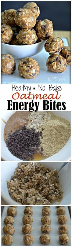 Oatmeal Energy Bites that is great when you're on the road or your kids need a healthy snack. ( An Easy No-Bake Snack).[EXTRACT]Oatmeal Energy Bites that is great when you're on the road or your kids need a healthy snack. ( An Easy No-Bake Snack). Healthy Baking, Healthy Treats, Eat Healthy, Healthy Travel Snacks, Dessert Healthy, Healthy Snacks For Kids On The Go, Healthy Snack Foods, Easy Healthy Lunch Ideas, Healthy Camping Snacks