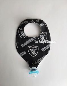 Oakland Raiders Binky Bib Pacifier Bib by OurFaithfulCreations