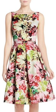Eliza J Belted Floral Print Faille Fit & Flare Dress