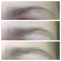 Eyebrow growth: 3 weeks after using castor oil mixed with vaseline (brush on with a clean mascara wand)