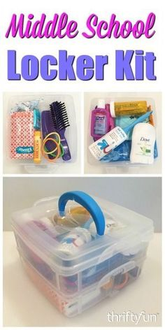 This is a guide about making a middle school locker kit. Have your child help you put together this useful kit of everyday necessities to store in their school locker. First Aid / Hygiene / Toiletries