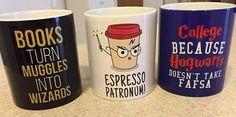 Harry Potter Mugs College Books, Harry Potter Mugs, Hogwarts, Espresso, Canning, Tableware, Fandoms, Live, Pretty