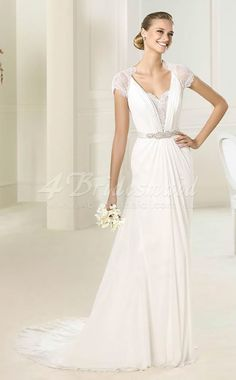 Sheath/Column V-neck Short Sleeve Glamorous and Dramatic Velent Chiffon,Lace Floor-length Beach Wedding Dresses(SCW439)