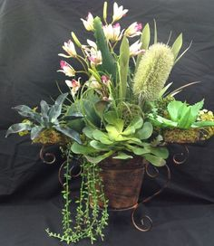 Succulents Artificial Silk  Mixed Arrangement with Orchids>In Metal Container