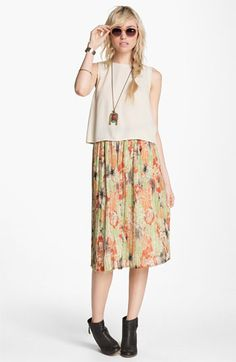 ASTR Woven Crop Shell & Like Mynded Midi Floral Skirt  available at #Nordstrom