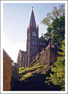 St. Peter's Catholic Church dominates the skyline above Harpers Ferry, West Virginia
