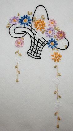 Aunt Clara's tablecloth closeup b - Stickerei Ideen Embroidery Flowers Pattern, Hand Embroidery Designs, Vintage Embroidery, Embroidery Art, Embroidery Applique, Cross Stitch Embroidery, Bordado Floral, Basket Quilt, Brazilian Embroidery