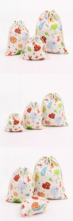 [Visit to Buy] Squirrel Cotton Linen Storage Bag Eco-Friendly Shopping Tea/candy/key Package Drawstring Bag Small Cloth Bag Christmas Gift #Advertisement