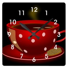 [ Red Tea Coffee Cup Kitchen Wall Clock Zazzle Kitchen Tea Display ] - Best Free Home Design Idea & Inspiration Coffee Cup Art, Coffee Cafe, My Coffee, Coffee Shop, Coffee Lovers, Coffee Clock, Coffee Poster, Red Kitchen Walls, Coffee Theme Kitchen