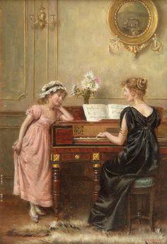 ♪ The Musical Arts ♪ music musician paintings - George Goodwin Kilburne | The Recital, 1924 - Pinterest