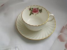 Vintage teacup  Northumbia Carelton Rose  vintage by NewtoUVintage