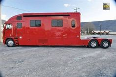 """For Sale: Unique Freightliner,great 380 degrees views, 3 bedrooms,ensuites and open plan kitchen/dining room plus small library""""(available in warm red only), pinned by Ton van der Veer"""
