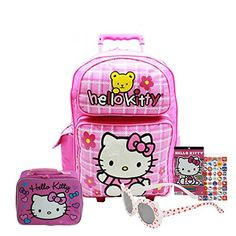 28f60932d2 Sanrio Hello Kitty Signature Pink Bow Large Rolling Backpack and Matching Hello  Kitty Insulated Lunch Bag