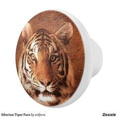 Siberian Tiger Face Ceramic Knob