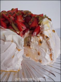 traditional pavlova! A dish native to New Zealand, designed and created for Ana pavlova the famous Russian ballerina to mimic the light fluffiness of her tutu :)