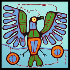 Bead Embroidery ART with Mrs. A: Norval Morrisseau and Grade Animal Paintings Inuit Kunst, Arte Inuit, Inuit Art, Native American Images, Native American Artists, Canadian Artists, Woodland Art, Ecole Art, Indian Artist