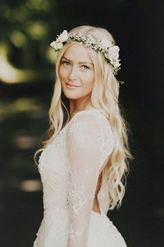 18 Gorgeous Wedding #hairstyles  with #diybrides rown  - While we love a traditional veil, it's safe to say we're suckers for a bridal flower crown. Not only are they absolutely stunning, but they're perfect for #DIYbrides.