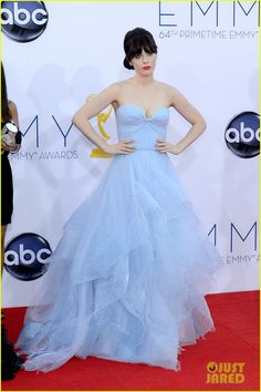 Zooey Deschanel - Emmys 2012 Red Carpet -  custom strapless sweetheart neckline tiered tulle gown by Reem Acra with Forevermark earrings and ring