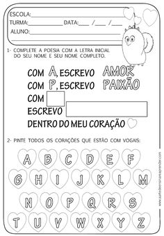 Atividade pronta - Nome Education, School, Facebook, Rose, Language Activities, Writing Activities, Activity Books, Abc Centers, Mother's Day Activities
