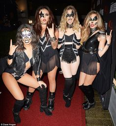 Rocking the party! Little Mixhit Kiss FM's Haunted House Party at Wembley Arena in London dressed, appropriately enough, as iconic rock band Kiss