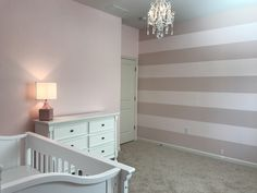 For a nursery you have to start with good bones: stripes on the wall (Ole Pink and My Sweetheart by Behr) and Candy Floss by Behr on the other walls. Baby Gia will come home in style! Loft Playroom, Paris Rooms, Behr Paint, Good Bones, Candy Floss, Girl Bedrooms, Paint Colours, Girly Girl, Master Bath