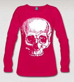 Large Skull Print Vintage Art Graphic Womens Cotton Long Sleeve T Shirt Top. Black Red Pink Or Blue. Plus Sizes.S-3XL by WinkinBitsyClothing on Etsy https://www.etsy.com/listing/232486922/large-skull-print-vintage-art-graphic