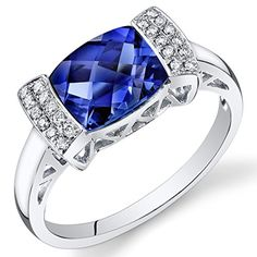 Peora 14K White Gold Cushion Created Blue Sapphire Diamond Ring (2.61 cttw) -- Details can be found by clicking on the image.