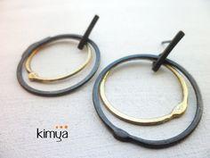 Oxidized Silver Brass Earrings Oxidized Silver by KIMYAJOYAS