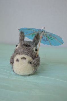 Needle Felted Totoro Needle Felted cutie Wool by MinnowandMopi, $25.00